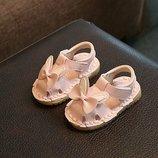 Сандалии детские для девочек розовые аппликация бабочка На липучке 16-19 р код F02