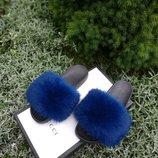 Шлепанцы из натурального меха ангорского кролика, код nlv-7099