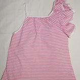 Бело-Розовый полосатый сарафан Marks&Spencer на девочку 7 лет. Рост - 122 см.