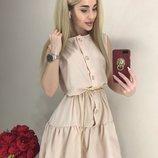 Летнее платье с рюшей в двух цветах