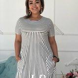 Женское стильное платье большого размера в полоску в двух цветах размеры 48-54