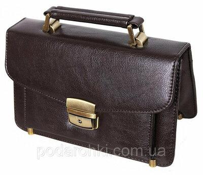 Мужская сумка барсетка классическая 41366-2BR коричневая Премиум 8 карманов, замок