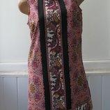 Платье шифоновое на подкладке, трапеция, летнее, принт. ONLY