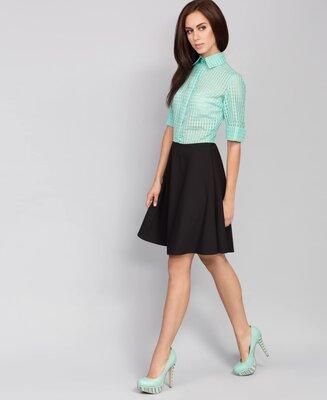 Акция 46 48 р летние платье офисное мятный с черным