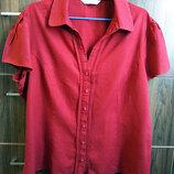 Наш 54 размер блуза красная 53% лен,47% вискоза от BHS