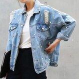 Джинсовая куртка с бусинками