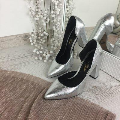 Туфли серебро, натуральная кожа