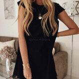 Летнее элегантное короткое платье Шерри трапецевидного кроя с кружевом арт.970скл.10