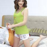 Домашний комплект, пижама с шортиками и майкой, размер S-XL, арт 572