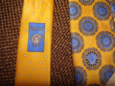галстук Versace шелк Италия оригинал винтаж желтый идеал