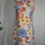 Платье лен с ярким принтом TU