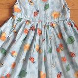 Платье сарафан 6 лет 116 см бабочки пчелки божьи коровки