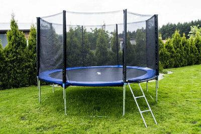 Батут диаметром 374 см для детей спортивный с лестницей и внешней сеткой