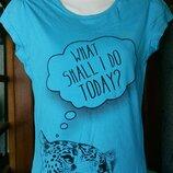 Голубая футболка для девочки 12-14 лет-Here & There