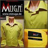 яркая, желтая рубашка slim fit, от Muga, оригинал, новая ворот 47-48