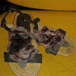Классные модные босоножки на натуральной плетеной платформе Centro, размер 36.