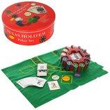 Настольная игра PO25544-4 Покер 240 фишек, 2 колоды карт, сукно, в коробке металл 25-25-9 см