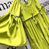 Яркое неоновое салатовое летнее платье