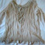 Легкая шелковая блуза пляжная туника , кружевная спинка м-л