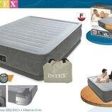 Матрас Велюр Intex 67768 полуторный надувной с насосом кровать