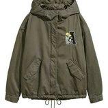 Короткая куртка парка с капюшоном H&M размер 16 EU42