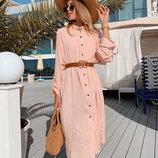 Женское стильное платье-рубашка до больших размеров 1930 Штапель Кнопки в расцветках.