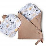 комплект для новорожденного конверт - плед и подушка с ушками, польша