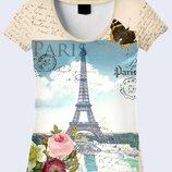 Женская футболка 3D Письмо из Парижа Большой выбор