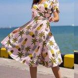 Женское летнее платье на запах принт ананасы ткань штапель скл.1 арт.55682
