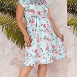 Женское летнее платье большогоразмера с цветочным принтом ткань шелк армани скл.1 арт.55748