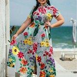 Платье В Пол полоска цветы батал, Размеры 50/52, 54/56.