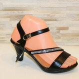 Босоножки женские черные на каблуке натуральная кожа Б240