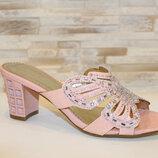 Шлепанцы женские розовые на каблуке Б247