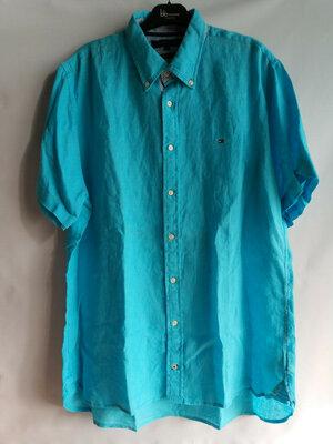 Рубашка лен премиум c коротким рукавом тенниска Tommy Hilfige Америка Сша оригинал