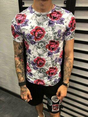 Стильная мужская футболка з розами s-m-l-xl-xxl