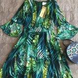 Шикарное платье пальмові листя волани