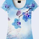 Женская майка 3D Голубые орхидеи Большой выбор