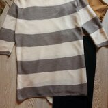 Теплое вязаное платье длинный свитер в полоску серый бежевый розовый батал большой размер