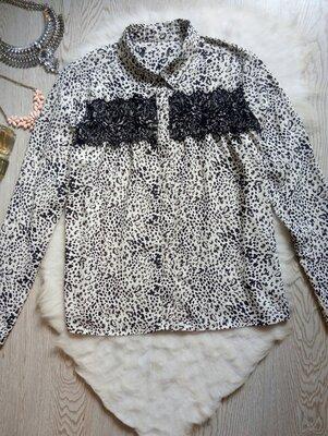 белая блуза рубашка длинный рукав креп шифон в черную точку черный гипюр ажурная вставка батал