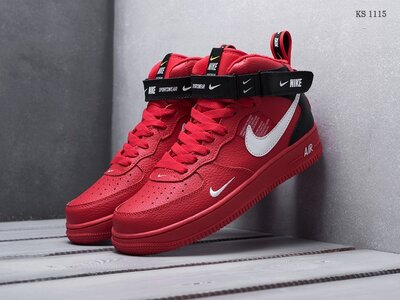 Бесплатная доставка. Топ качество. Кроссовки Nike Air Force 1 07 Mid LV8 красные KS 1115