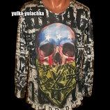 Стильный реглан легкий свитер свитшот с принтом череп