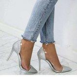 Женские туфли серебро, серебристые, с силиконом