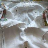 Urban spirit белые укороченные брюки лен/котон/высокая посадка -размер 32- наш 50
