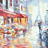 Картина по номерам. Brushme Цветочная улица в Париже GX7959