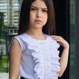 Детская школьная блуза блузка без рукавов школьная форма 122 128 134 140 146 152 158 164