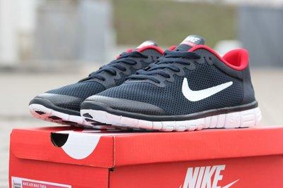 Кроссовки мужские летние Nike Free Run 3.0 синие с красным