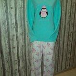 нежная флисовая пижама с пингвинчиками