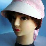 Бандана женская. Летняя. С козырьком. Лен рубашечный. Бледно - розовый цвет. Цена 175 гр.