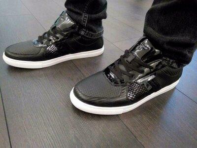 Черные кожаные мужские кроссовки, черные кеды creative recreation