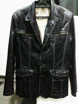 Черный кожаный мужской пиджак, кожаная куртка fabiani, размер l